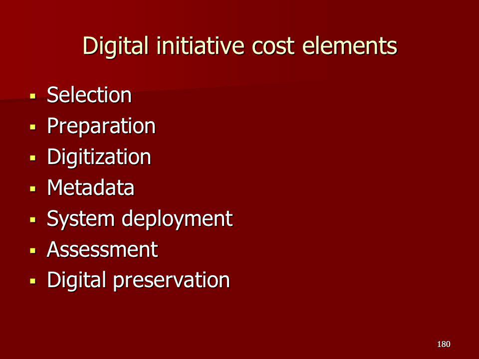 Digital initiative cost elements