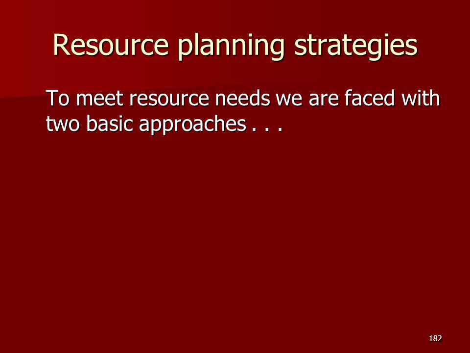 Resource planning strategies