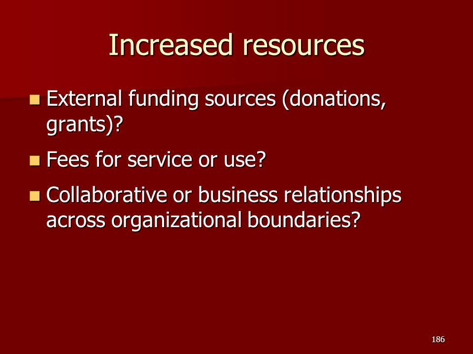 Increased resources External funding sources (donations, grants)