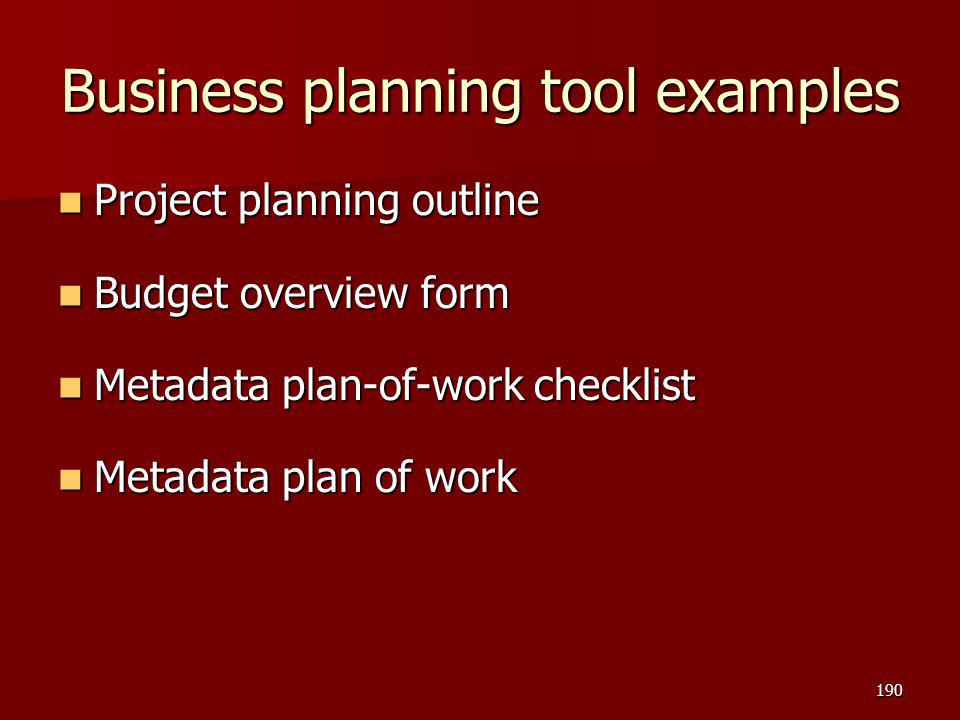 Business planning tool examples