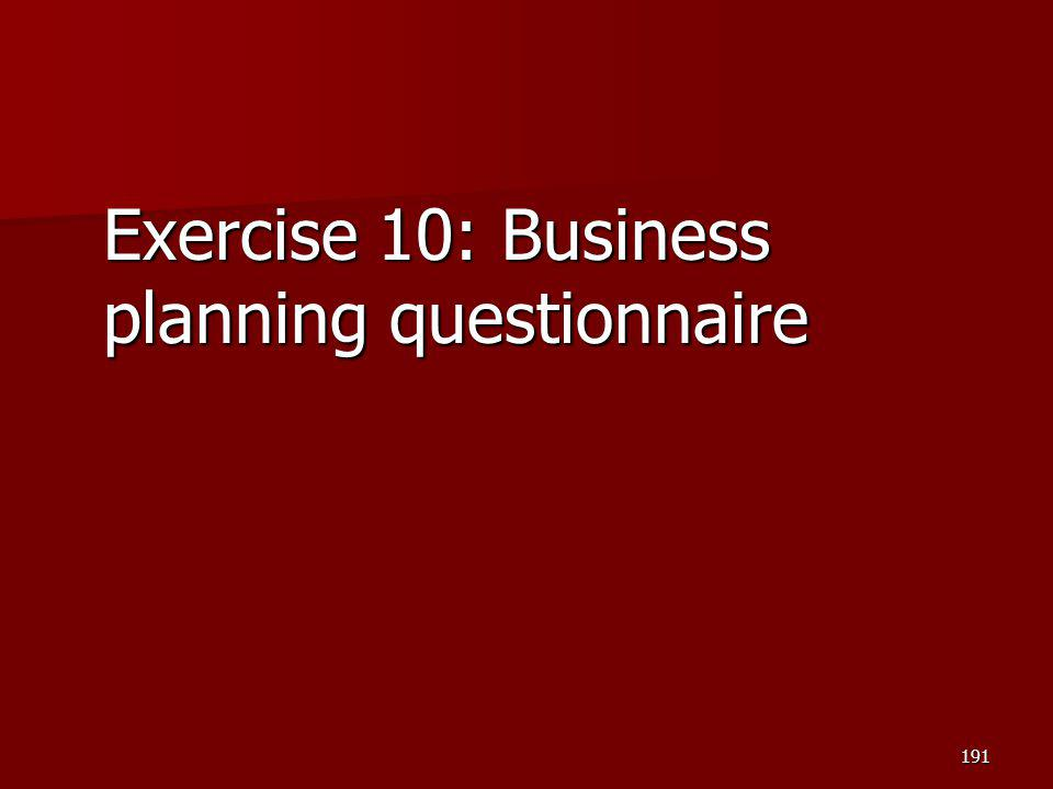 Exercise 10: Business planning questionnaire