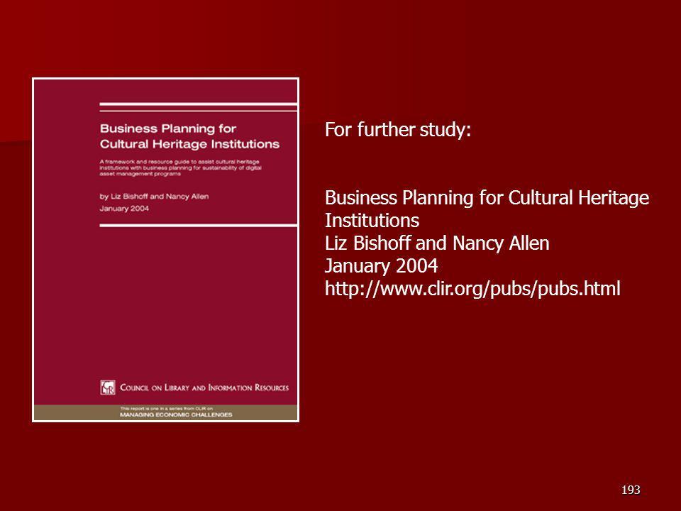 Business Planning for Cultural Heritage Institutions