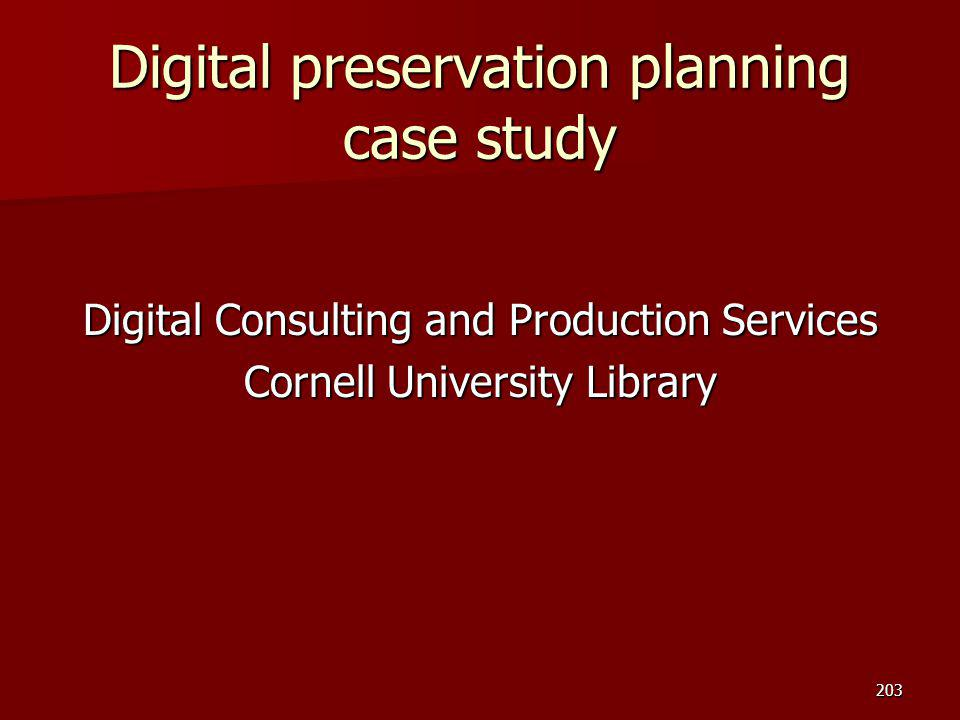 Digital preservation planning case study