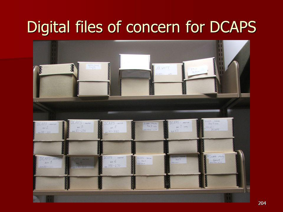 Digital files of concern for DCAPS