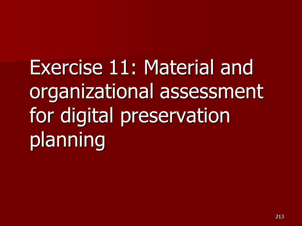 Exercise 11: Material and organizational assessment for digital preservation planning