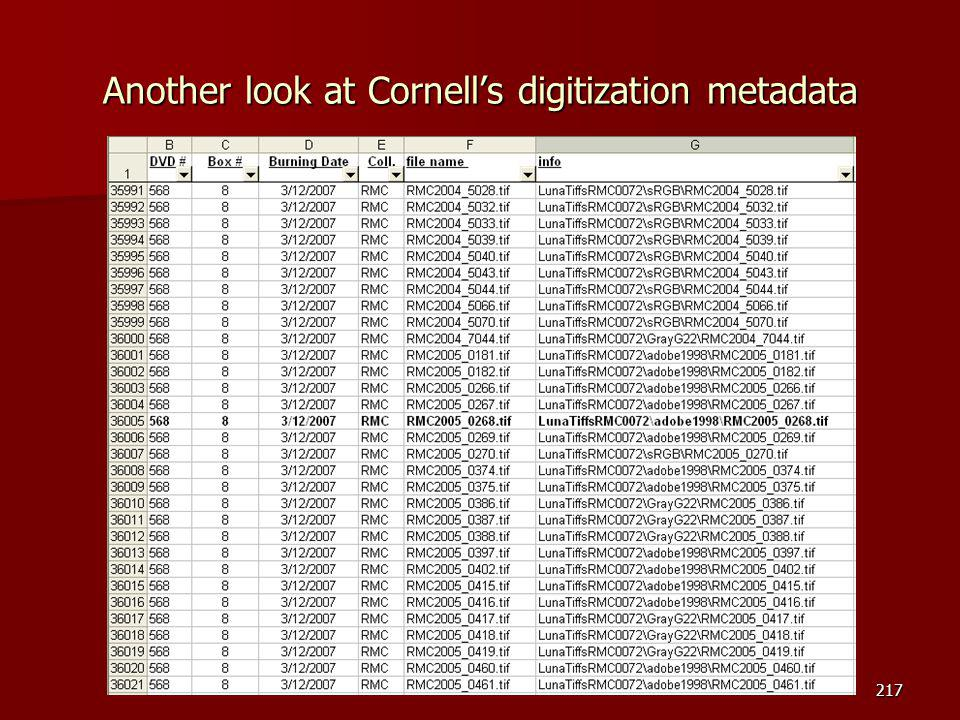 Another look at Cornell's digitization metadata