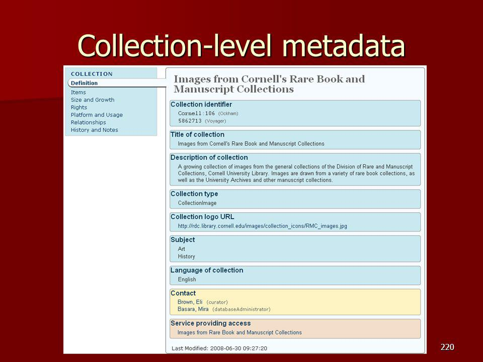 Collection-level metadata