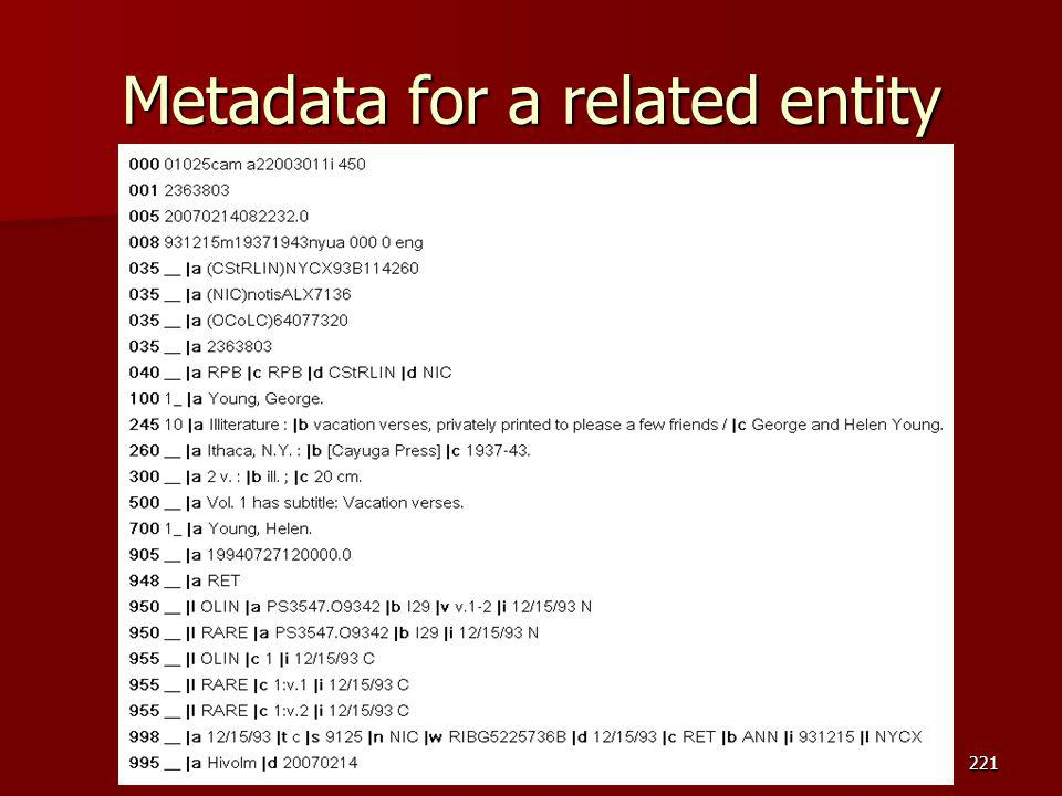 Metadata for a related entity