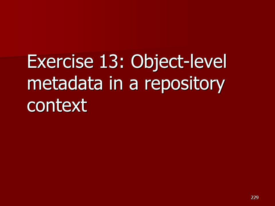Exercise 13: Object-level metadata in a repository context