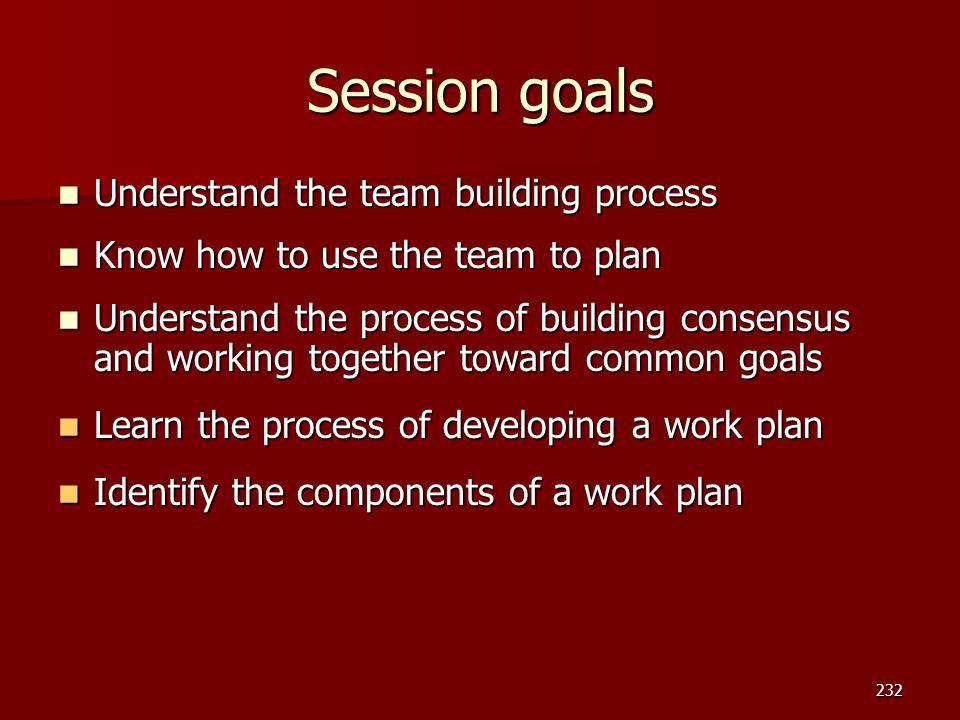Session goals Understand the team building process