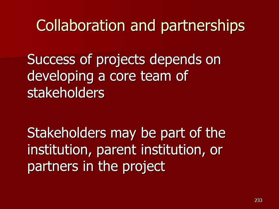 Collaboration and partnerships