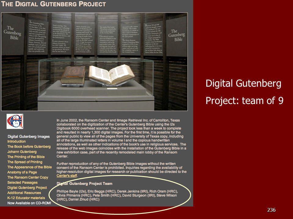 Another example Digital Gutenberg Project: team of 9 Instructor note: