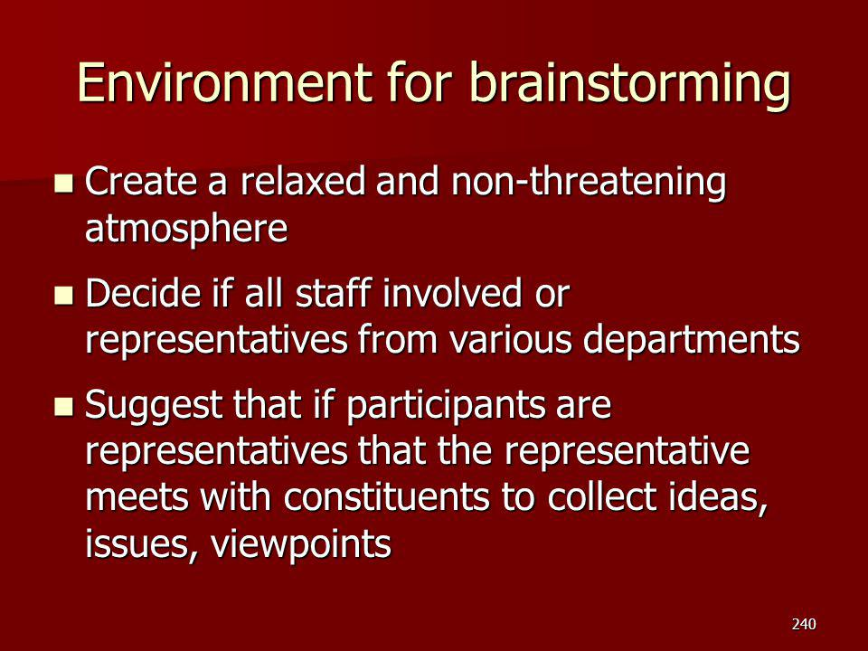 Environment for brainstorming