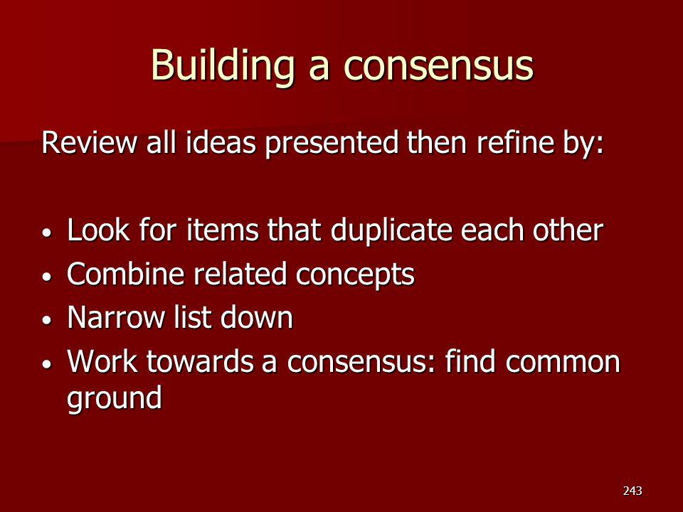 Building a consensus Review all ideas presented then refine by: