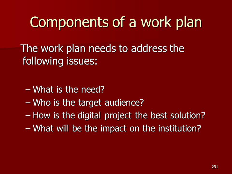 Components of a work plan