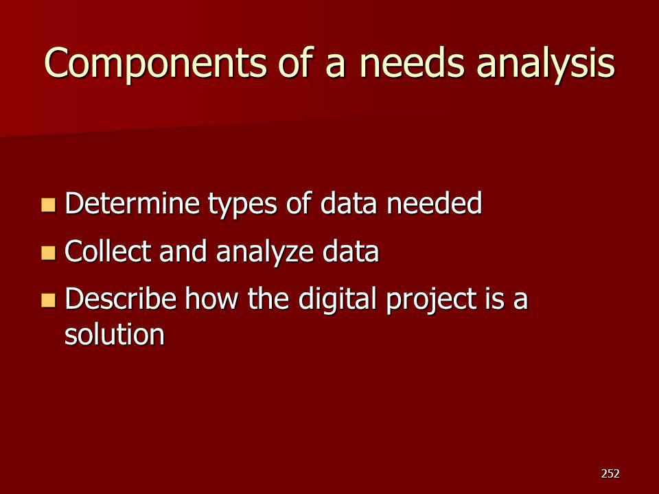 Components of a needs analysis