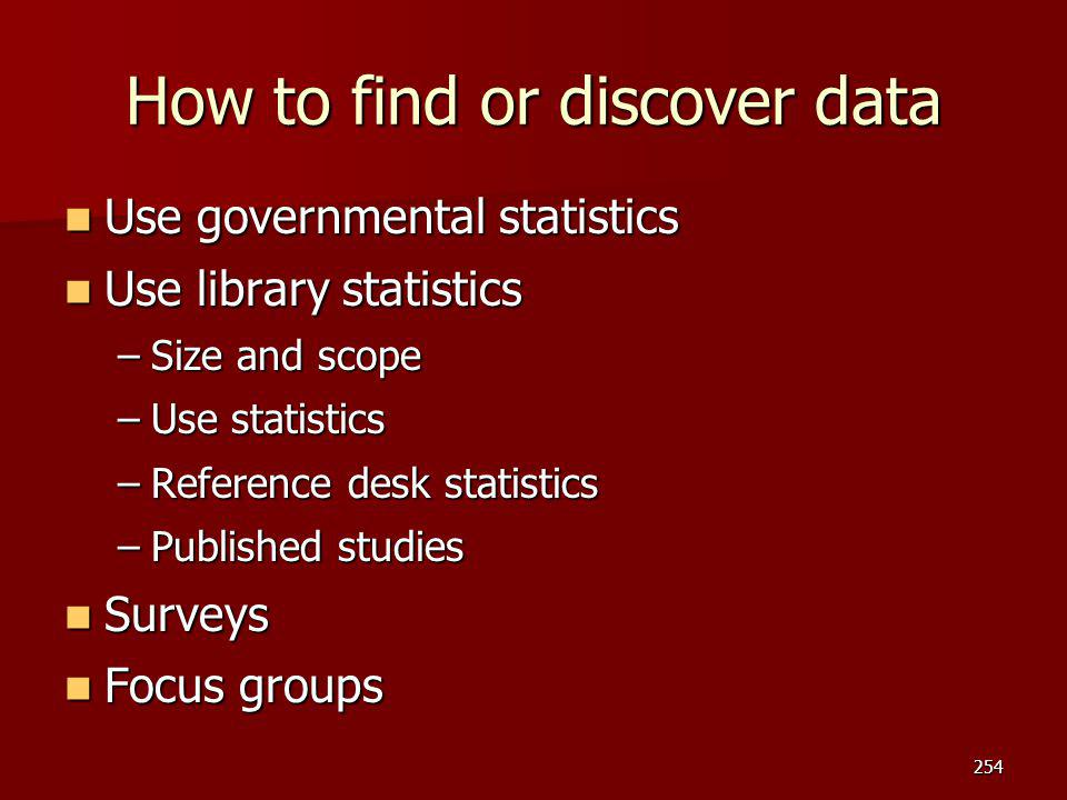 How to find or discover data