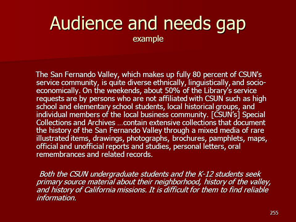 Audience and needs gap example