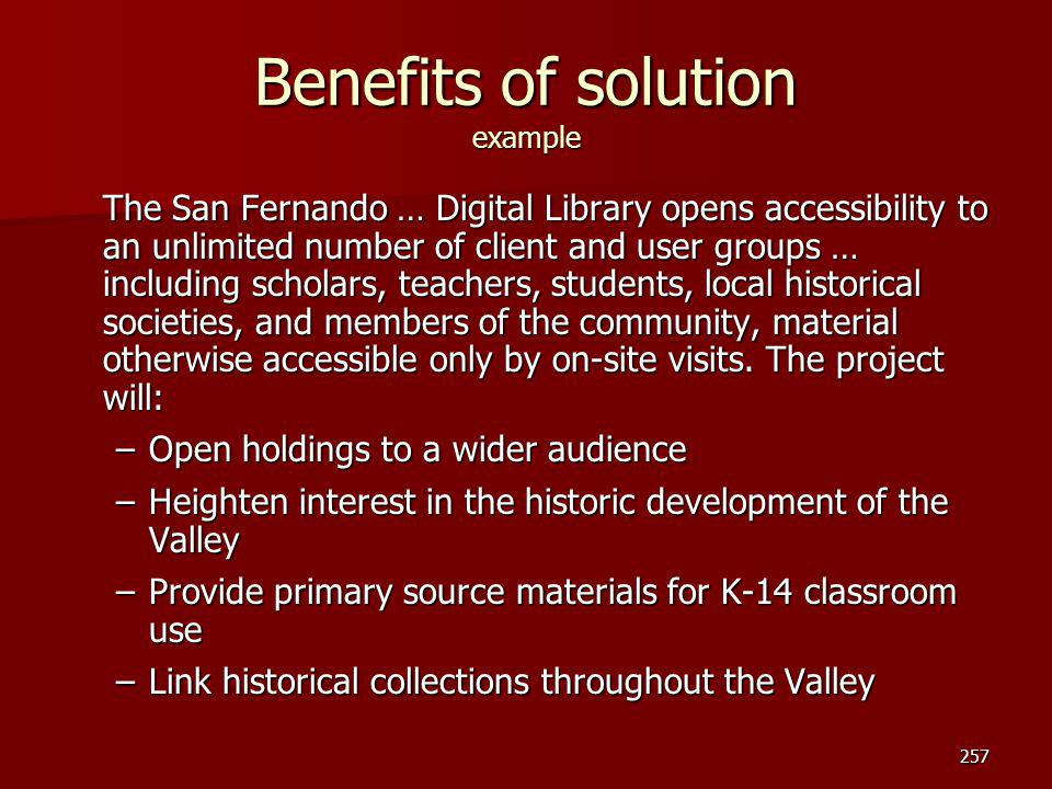 Benefits of solution example