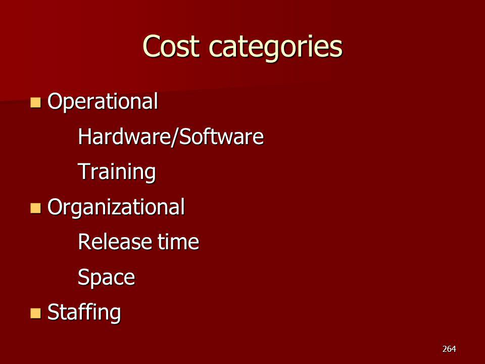 Cost categories Operational Hardware/Software Training Organizational