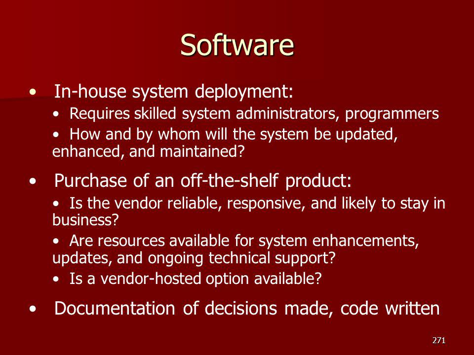Software In-house system deployment: