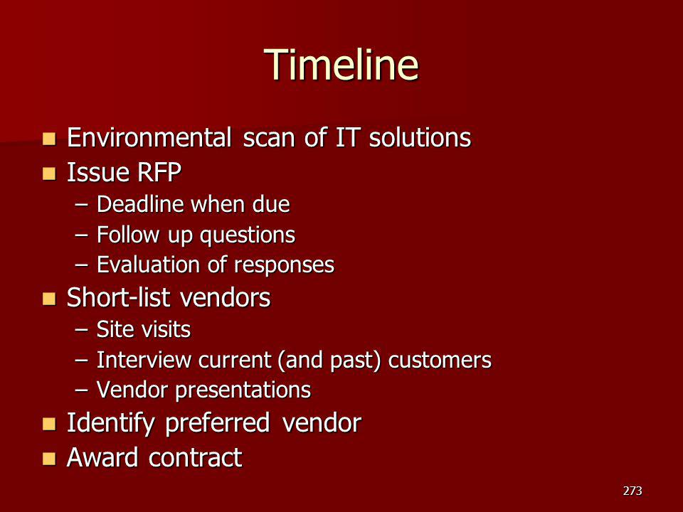 Timeline Environmental scan of IT solutions Issue RFP