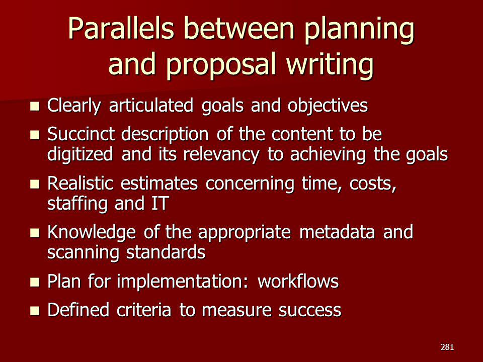 Parallels between planning and proposal writing
