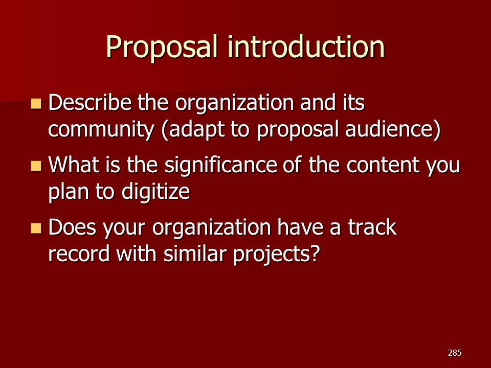 Proposal introduction