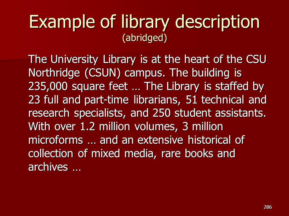 Example of library description (abridged)
