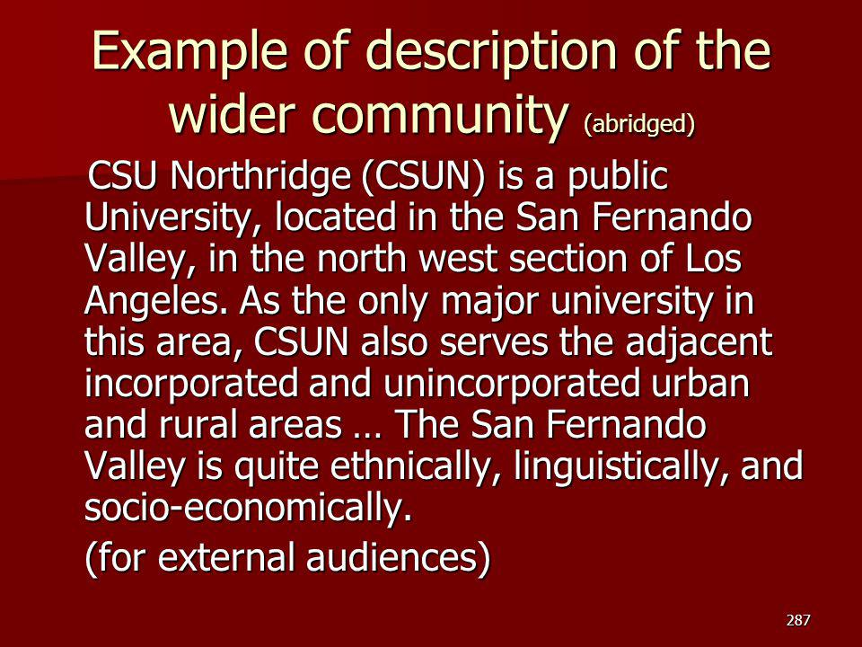 Example of description of the wider community (abridged)
