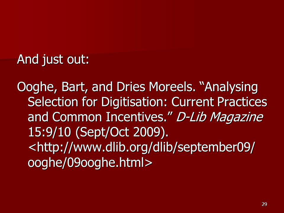 And just out: Ooghe, Bart, and Dries Moreels