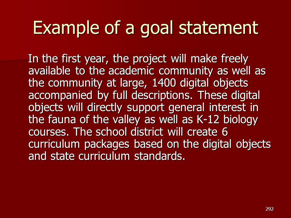 Example of a goal statement