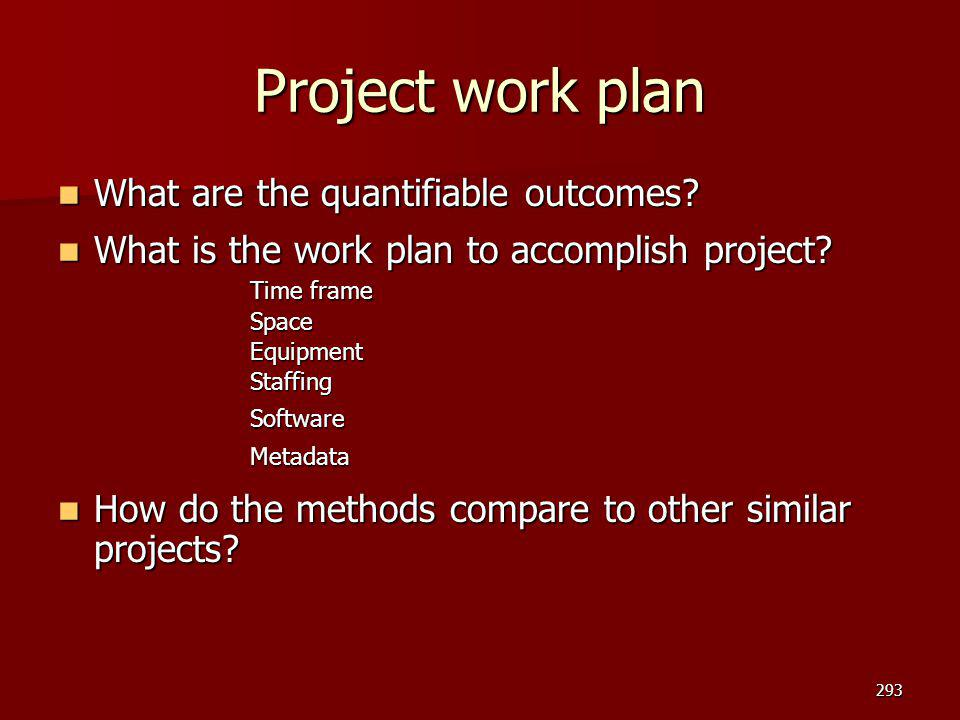Project work plan What are the quantifiable outcomes