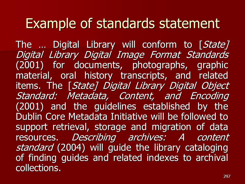 Example of standards statement