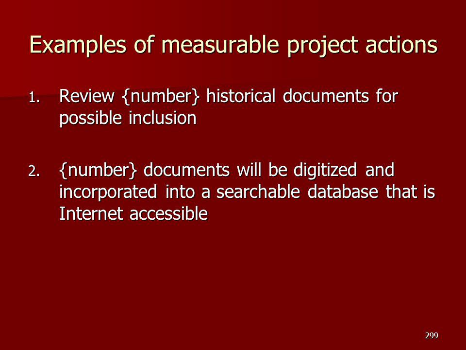 Examples of measurable project actions