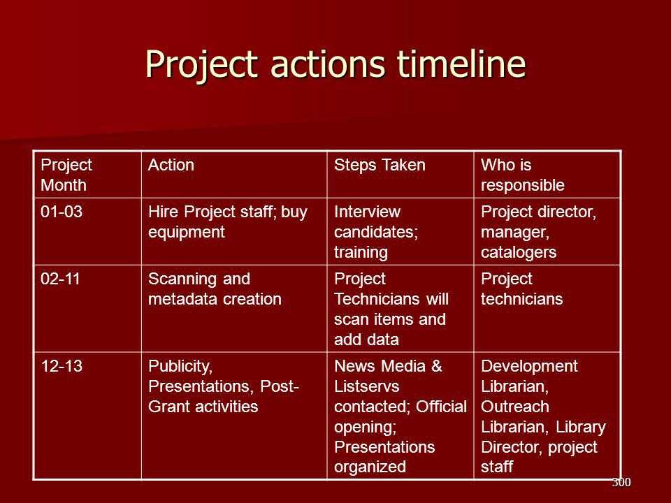 Project actions timeline