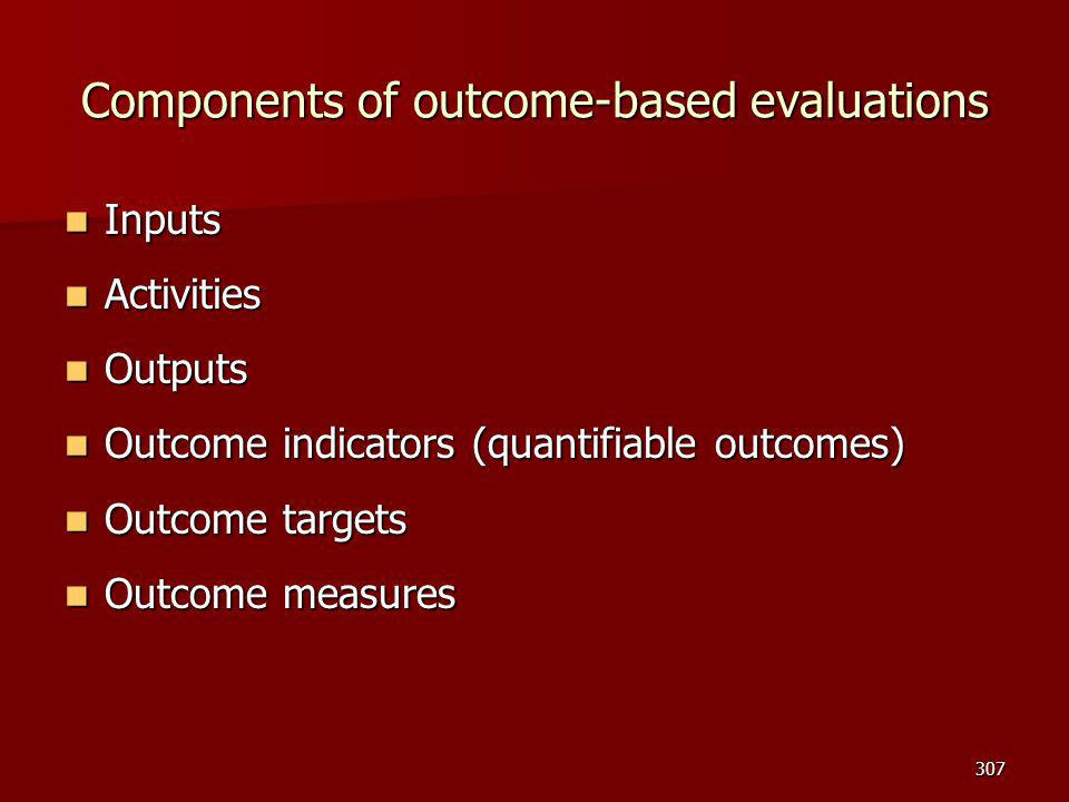 Components of outcome-based evaluations