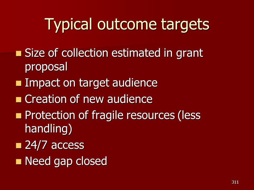Typical outcome targets