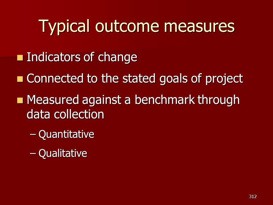 Typical outcome measures