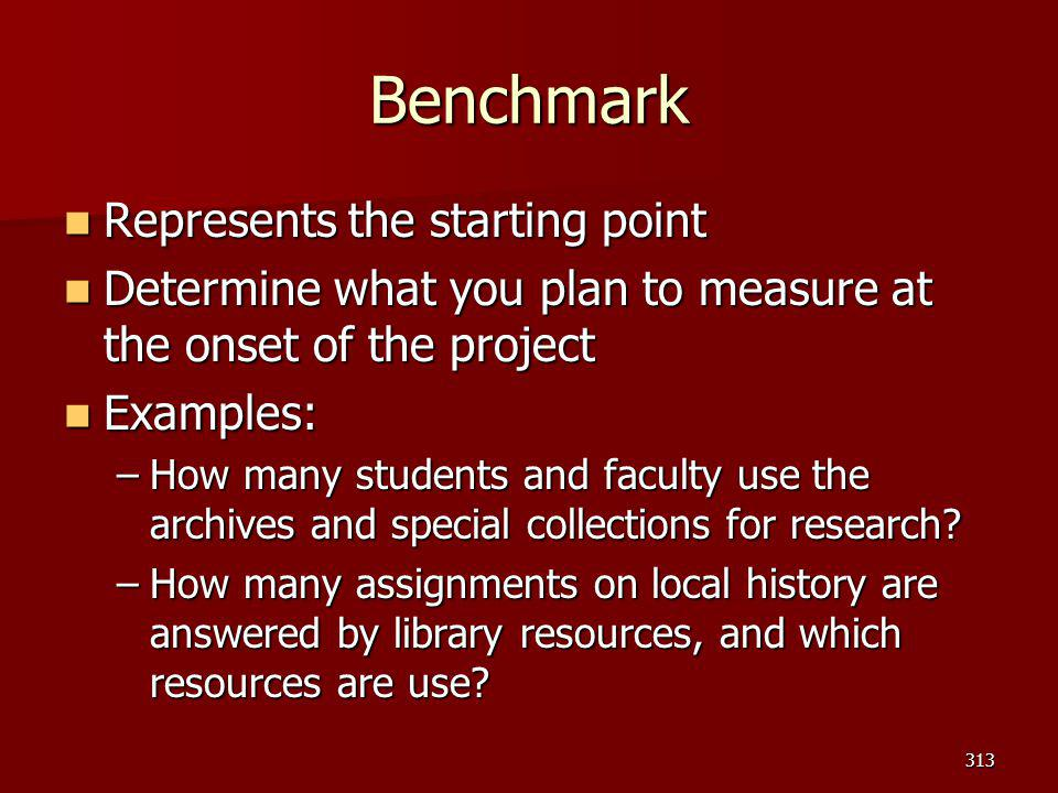 Benchmark Represents the starting point