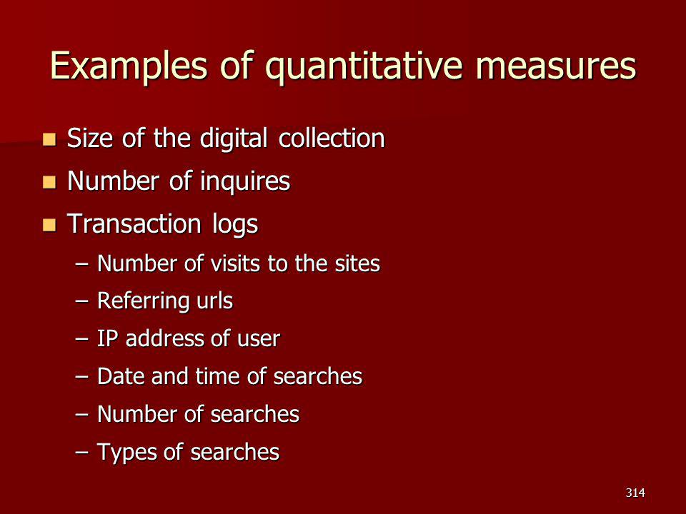 Examples of quantitative measures