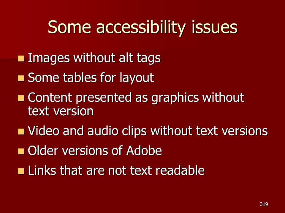 Some accessibility issues