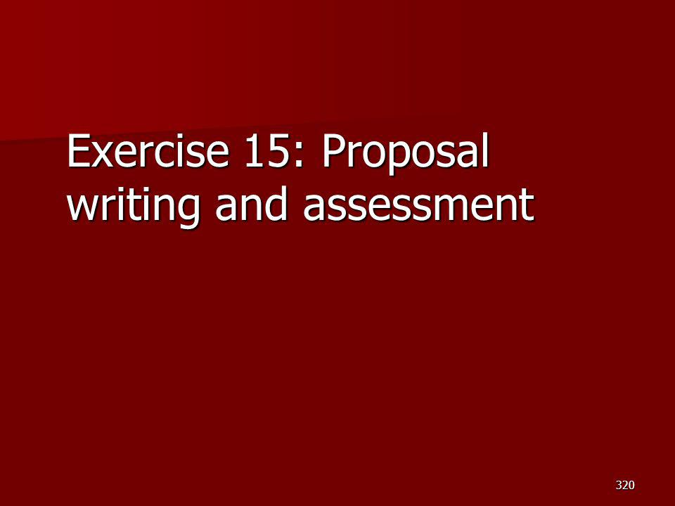 Exercise 15: Proposal writing and assessment