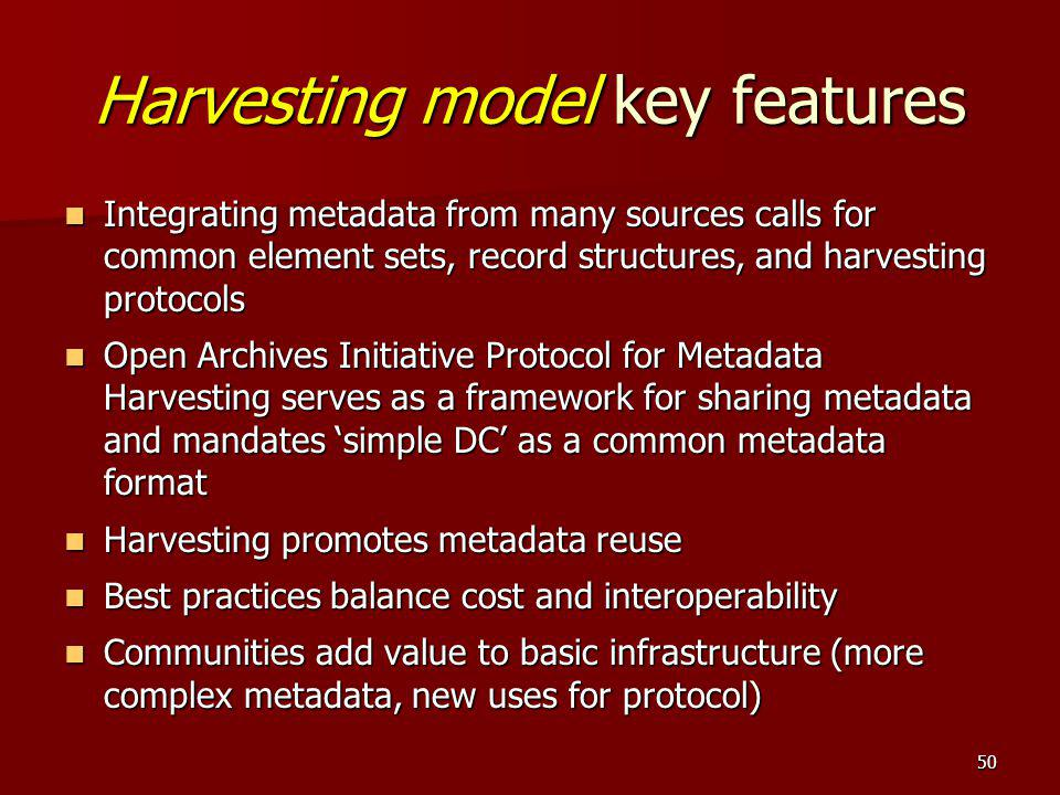 Harvesting model key features