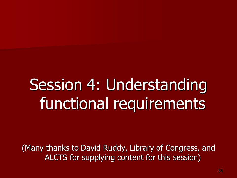 Session 4: Understanding functional requirements