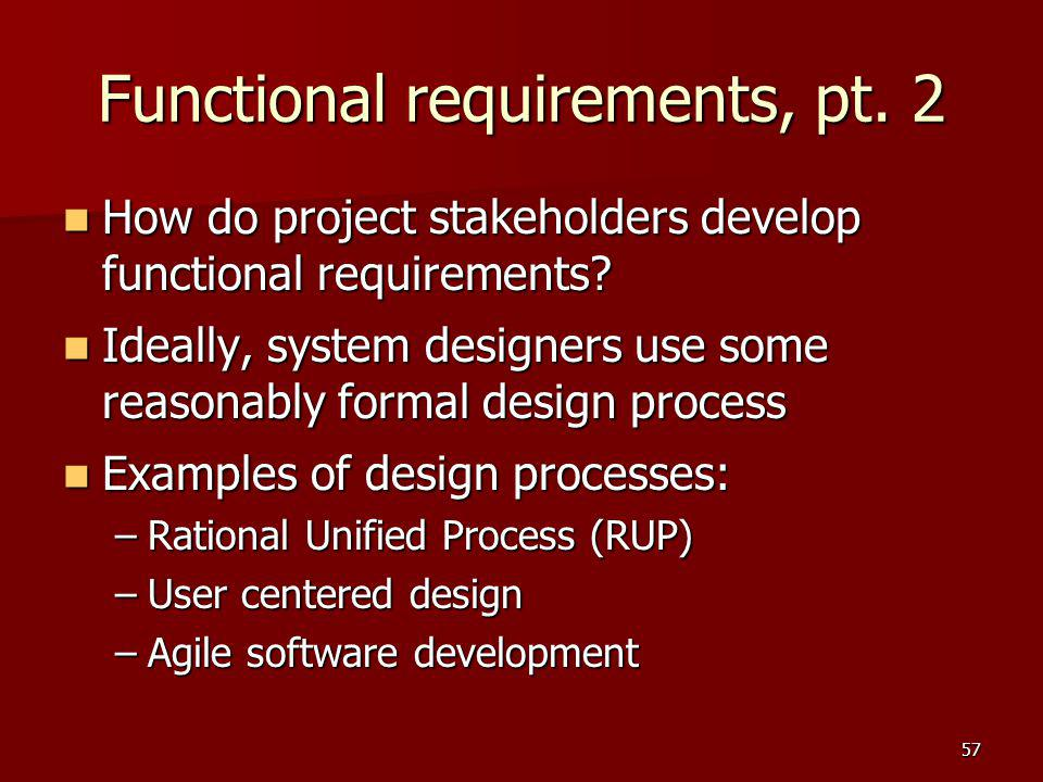 Functional requirements, pt. 2
