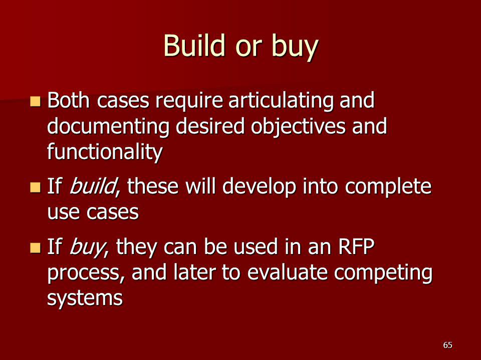 Build or buy Both cases require articulating and documenting desired objectives and functionality.