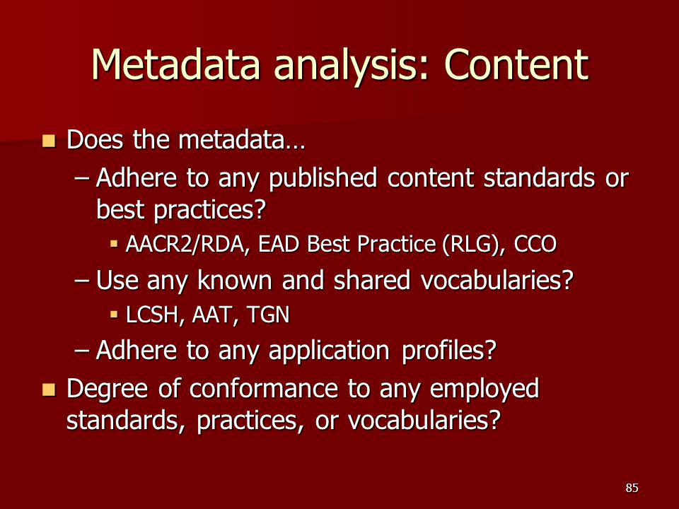 Metadata analysis: Content