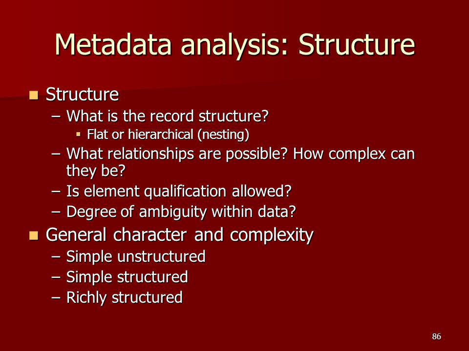 Metadata analysis: Structure