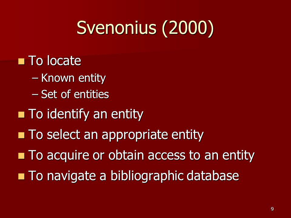 Svenonius (2000) To locate To identify an entity